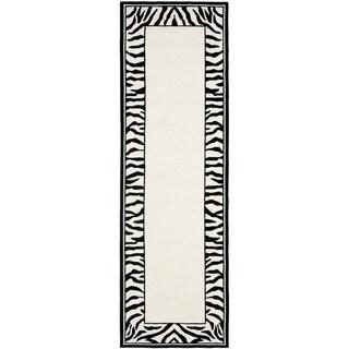 Safavieh Hand-hooked Chelsea Coraima Country Oriental Wool Rug (26 x 6 Runner - White/Black)