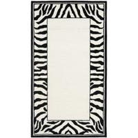 Safavieh Hand-hooked Zebra Border White/ Black Wool Rug - 2'6 x 4'
