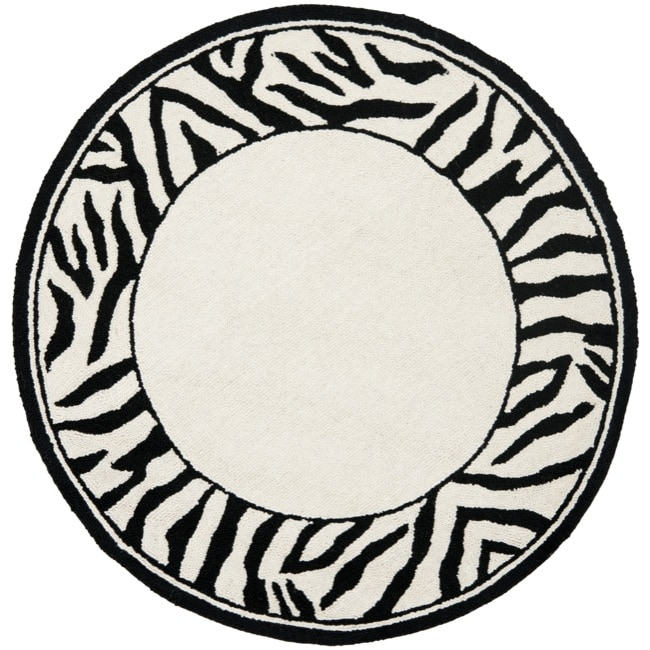 Safavieh Hand-hooked Zebra Border White/ Black Wool Rug (3