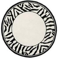 Safavieh Hand-hooked Zebra Border White/ Black Wool Rug (3' Round)