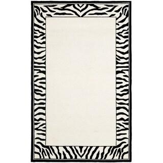 Safavieh Hand-hooked Chelsea Coraima Country Oriental Wool Rug (6 x 9 - White/Black)