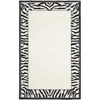 Safavieh Hand-hooked Zebra Border White/ Black Wool Rug - 6' x 9'