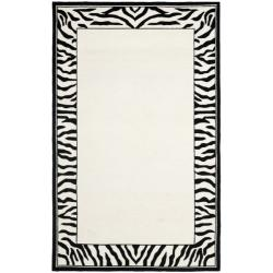 Safavieh Hand-hooked Zebra Border White/ Black Wool Rug (7'6 x 9'9)