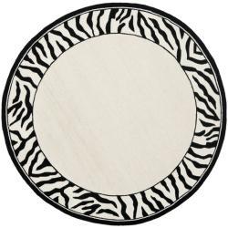Shop Safavieh Hand Hooked Zebra Border White Black Wool