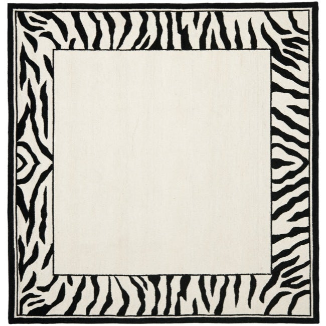 Safavieh hand hooked zebra border white black wool rug 6 square safavieh hand hooked zebra border white black wool rug 6x27 voltagebd Choice Image
