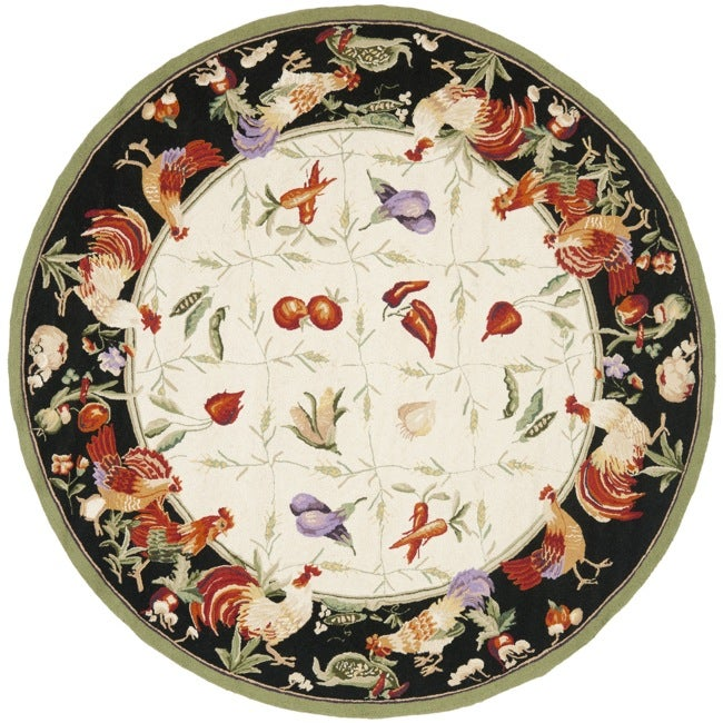 Safavieh Hand-hooked Roosters Ivory/ Black Wool Rug (8' R...