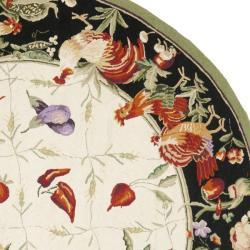 Safavieh Hand-hooked Roosters Ivory/ Black Wool Rug (8' Round)