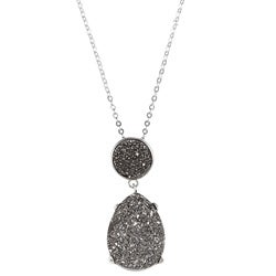 La Preciosa Sterling Silver Pear and Round Grey Druzy Necklace