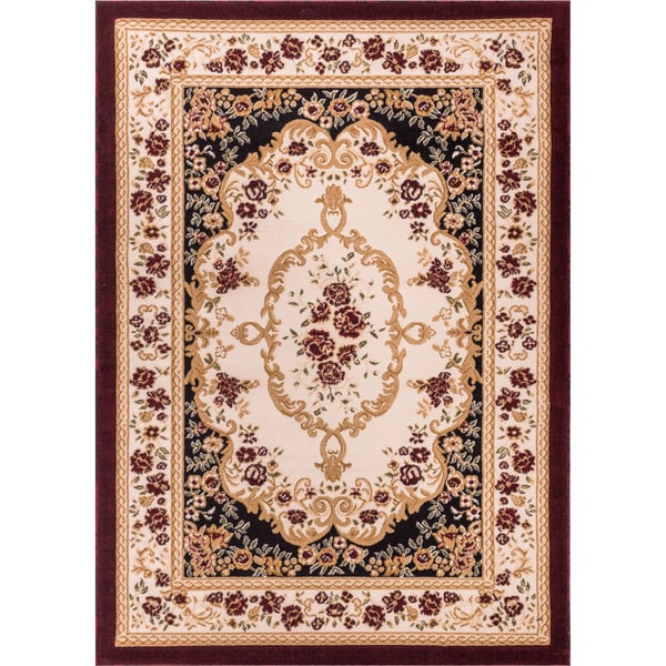 Well Woven Royal Medallion Black Beige Floral Area Rug - 5' x 7'2""