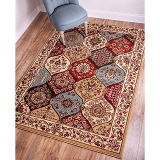 Wentworth Multi Panel Lattice Trellis Floral Border Ivory, Beige, Blue, Brown, and Red Area Rug (6'7 x 9'3)