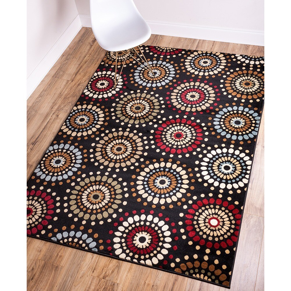 Well Woven Rodeo Drive Circles Black Area Rug (6' 7 x 9' ...