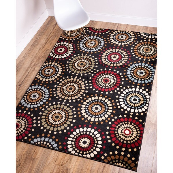 "Rodeo Drive Circles Black Area Rug - 6'7"" x 9'6"""