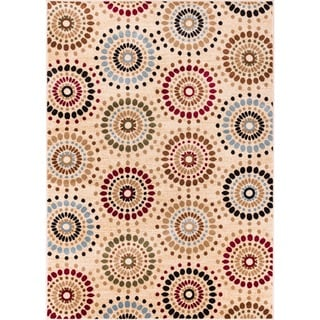 Rodeo Drive Circles Ivory Area Rug (6' 7 x 9' 6)