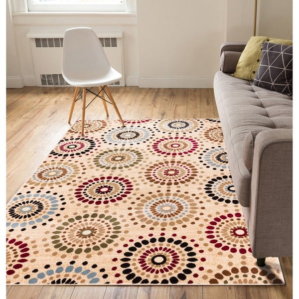 Rodeo Drive Ivory Circles Rug (3'11 x 5'3)