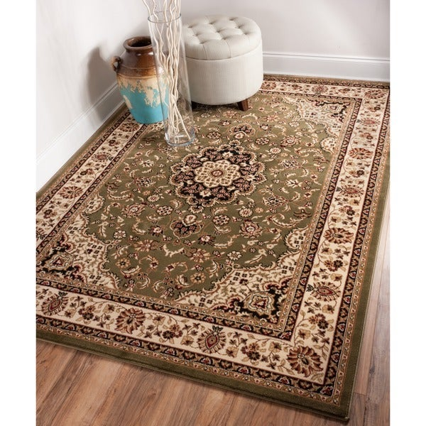 Medallion Traditional Persian Floral Border Oriental Formal Green, Ivory, and Beige Area Rug (7 ...