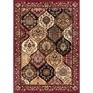 Victorian Panel Red Area Rug (3' 11 x 5' 3)
