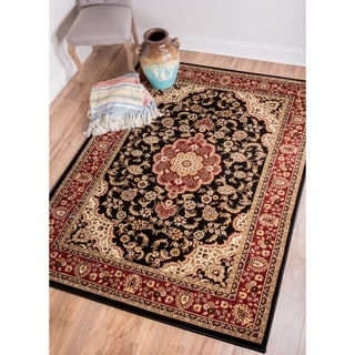 Medallion Traditional Kashan Formal Medallion Floral Black Area Rug (6'7 x 9'6)