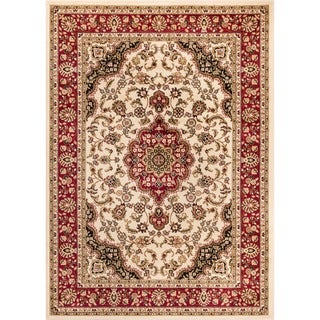 Medallion Traditional Ivory Area Rug (6' 7 x 9' 6)