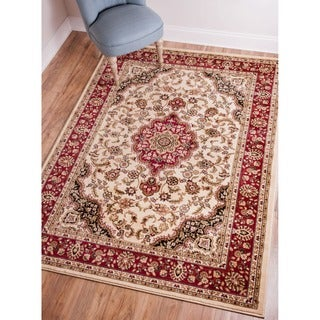 Medallion Traditional Persian Floral Oriental Border Ivory and Red Area Rug (3'11 x 5'3)