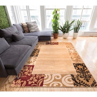 Well Woven Traditional Damask Floral Border Carved Texture Effect Beige Red Area Rug - 7'10 x 9'10