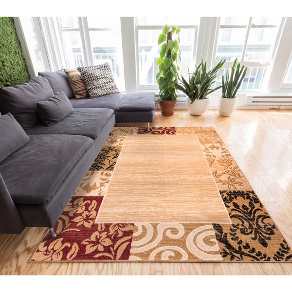 Well-woven Traditional Damask Floral Border Carved Texture Effect Beige and Red Area Rug (5' x 7'2)