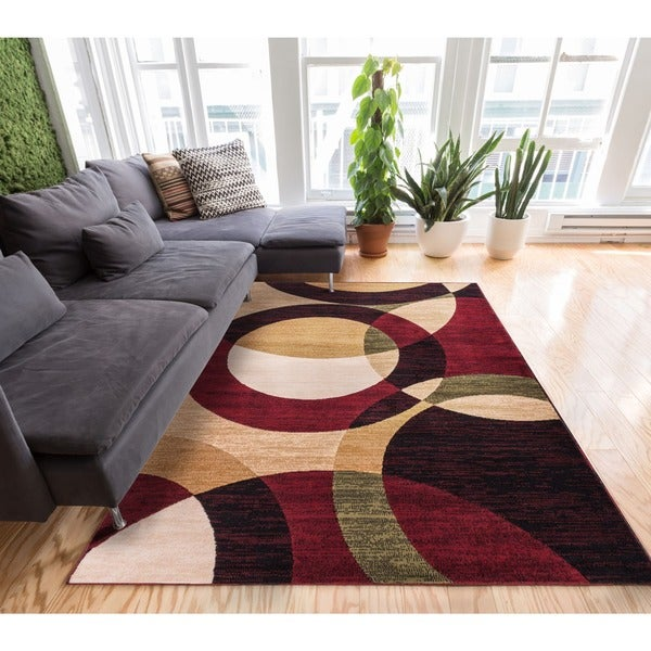 Well Woven Catalina Disco Circles Red Area Rug Multi 7 X27 10