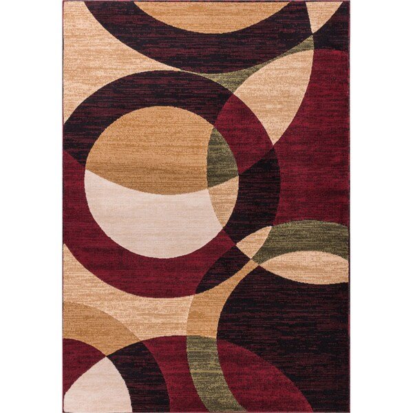 Modern Red Circular Geometric Red, Green, Yellow, Beige, Ivory, and Black Modern Abstract Contemporary Area Rug (5' x 7'2')
