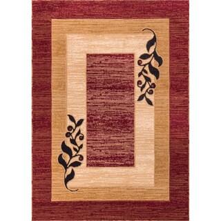 Red/ Beige Leaf Border Print Rug (6'7'' x 9'3'')