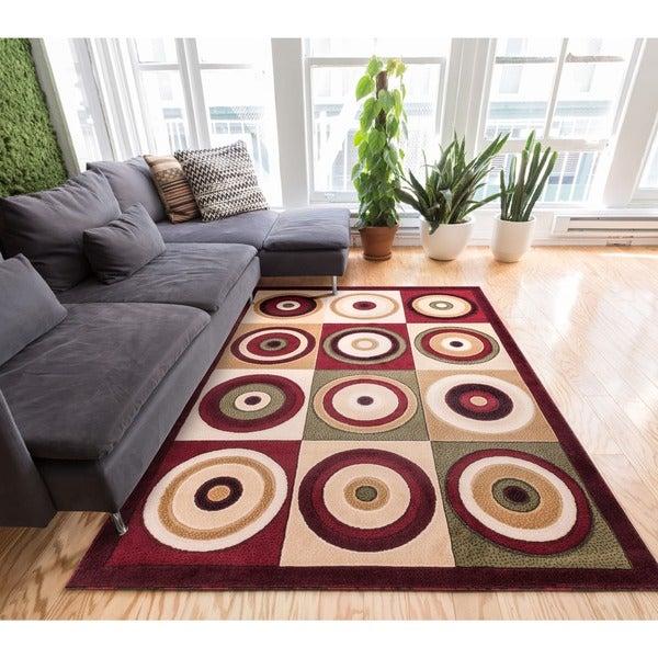 Well Woven Modern Geometric Multicolor Squares Circles Area Rug - 7'10 x 9'10