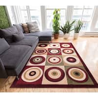 Well-woven Modern Geometric Multicolor Squares and Circles Area Rug - 5' x 7'2