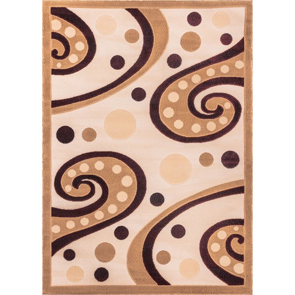 Waves Tone and Tone Abstract Modern Swirl Beige, Ivory, Black, and Red Area Rug - 7'10 x 9'10