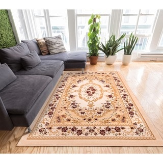 Well-woven Royal Medallion European French Floral Ivory Area Rug (5' x 7'2)
