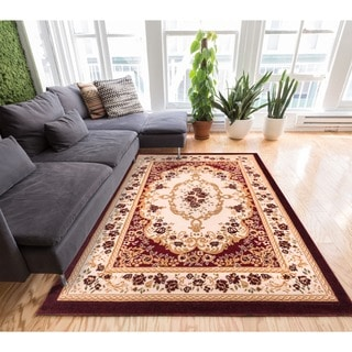 Well-woven Royal Medallion European French Floral Red Area Rug (7'10 x 9'10)