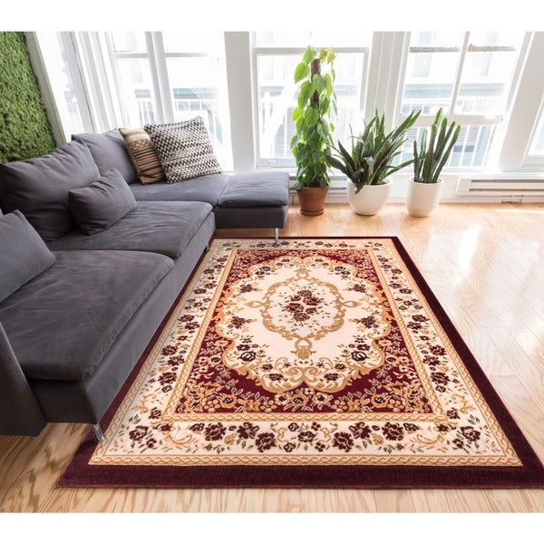 Well Woven Royal Medallion European French Floral Red Area Rug - 7'10 x 9'10