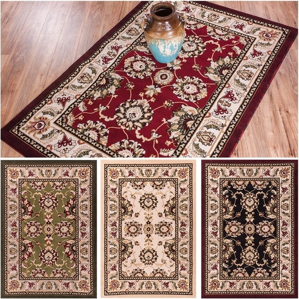 """Well Woven Antep Oriental Persian Floral Border Classic Traditional Black, Green, Ivory, Red Area Rug - 5' x 7'2"""""""