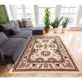 Well-woven Antep Traditional Wide Border Ivory and Beige Area Rug (7'10 x 9'10)