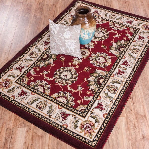 Antep Red Oriental Floral Ivory Border Area Rug (7'10 x 9'10)