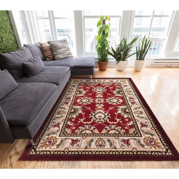 Well-woven Antep Traditional Red Ivory Wide Border Area Rug (3'3 x 5'3)