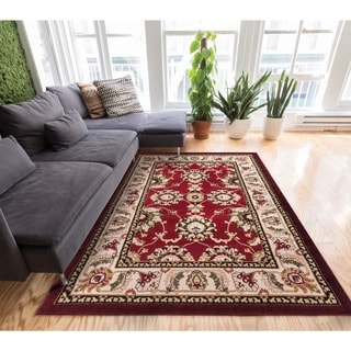 Antep Oriental Medallion Persian Floral Border Red and Ivory Area Rug (3'3 x 5'3)