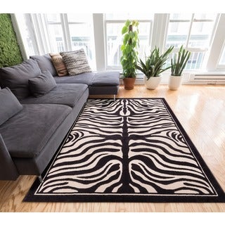 Well-woven Modern Zebra Animal Print Black And Beige Area Rug (7'10 x 9'10)