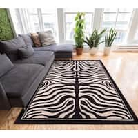 Well-woven Modern Zebra Animal Print Black And Beige Area Rug - 7'10 x 9'10