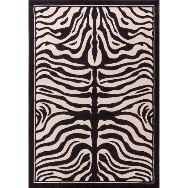 Ivory Zebra Animal Print Rug 5' x 7' 2