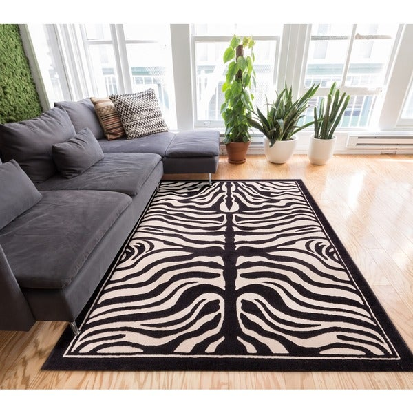 Well-woven Zebra Animal Print Beige and Black Area Rug (5' x 7'2)