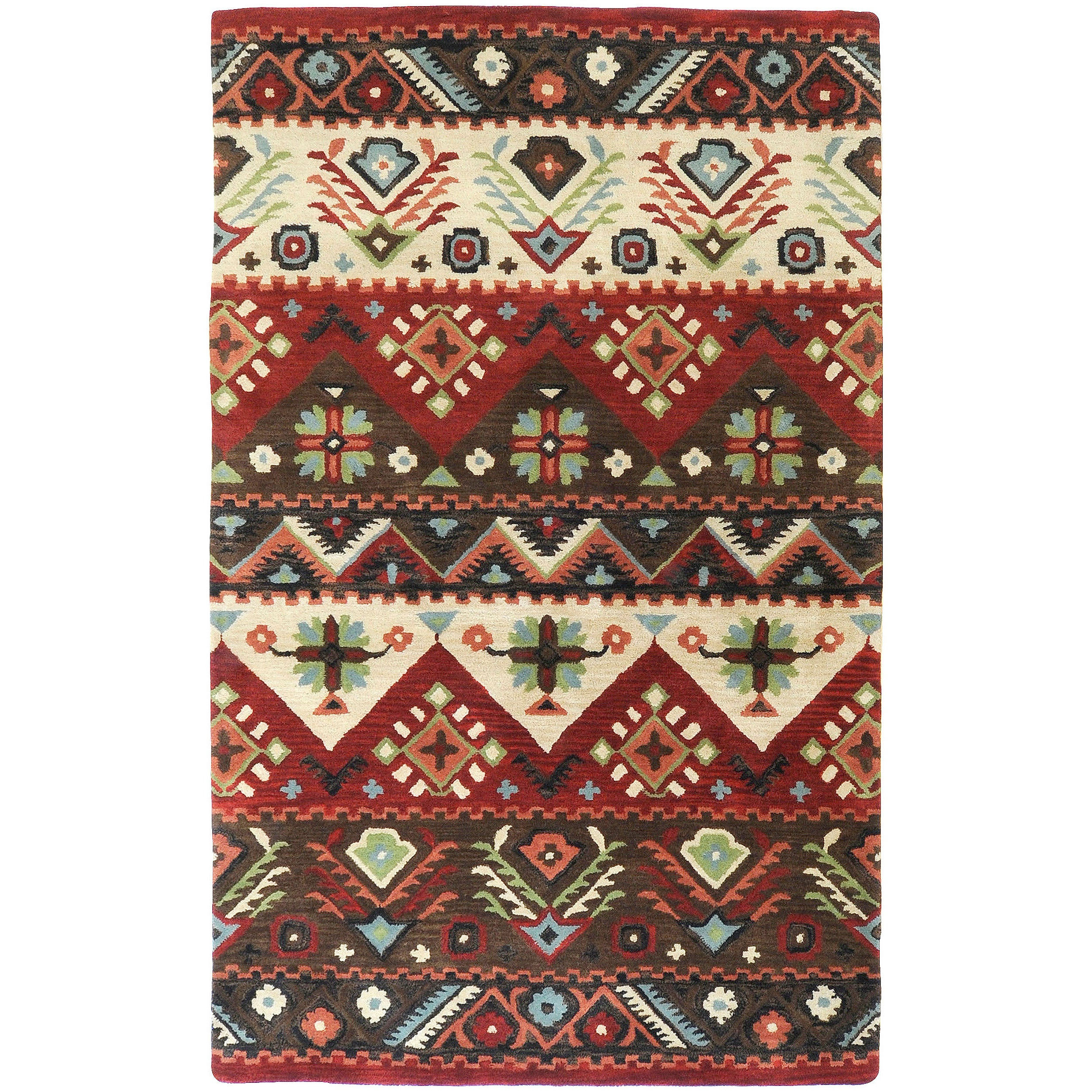 Hand-tufted Red Kodiak New Zealand Wool Rug (5' x 8')