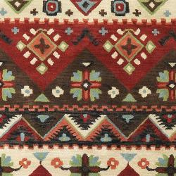 Hand-tufted Red Kodiak New Zealand Wool Rug (5' x 8') - Thumbnail 2