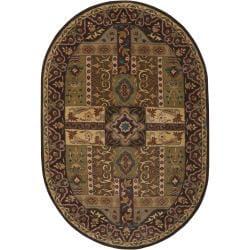 Hand-tufted Brown Kiser Wool Rug (8' x 10' Oval)