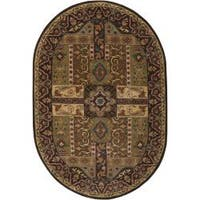 Hand-tufted Brown Kiser Wool Area Rug (8' x 10' Oval)