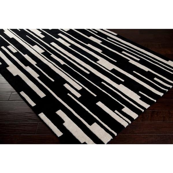 Hand-tufted Black Cane Geometric Wool Area Rug - 2'6 x 8'