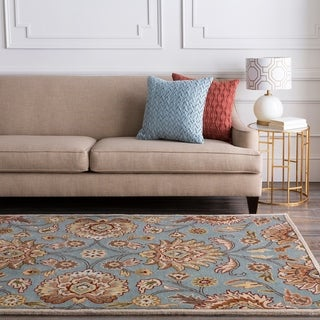 Hand-tufted Blue Kiser Wool Area Rug - 6' x 9' Oval