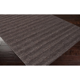 Hand-crafted Solid Brown  Baham Wool Rug (8' x 10')